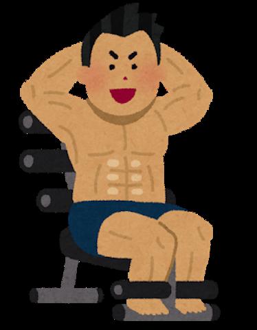 足が固定される腹筋ベンチ